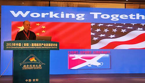 Dan Johnson presenting the value of American aircraft at a China aviation business seminar.